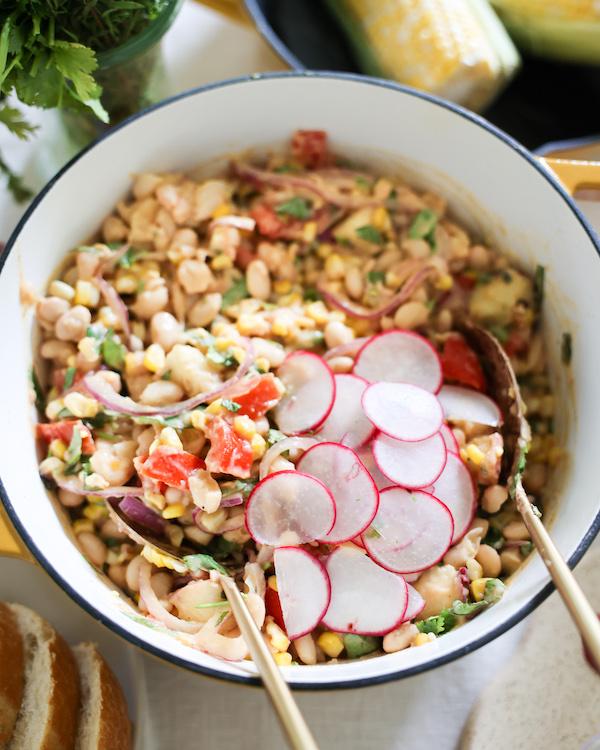 peach white bean salad