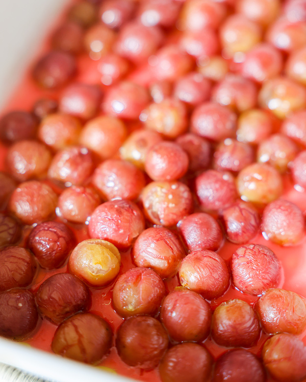 roasted grapes in pan